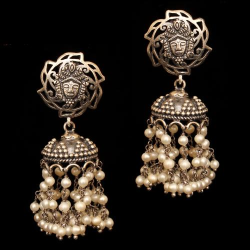 OXIDIZED SILVER JHUMKAS WITH PEARL BEADS