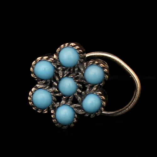 OXIDIZED SILVER FLORAL NOSE PIN WITH TOURQUOISE STONE
