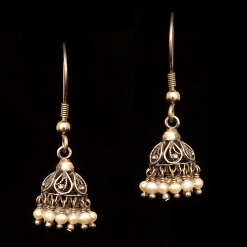 OXIDIZED SILVER PEARL BEADS JHUMKAS
