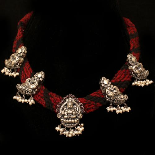 OXIDIZED SILVER NAKASH THREAD NECKLACE WITH RED CORUNDUM AND PEARL BEADS