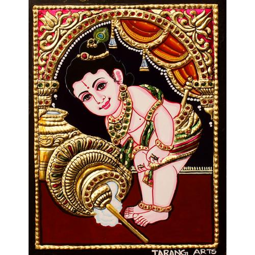 TANJORE PAINTING BUTTER KRISHNA