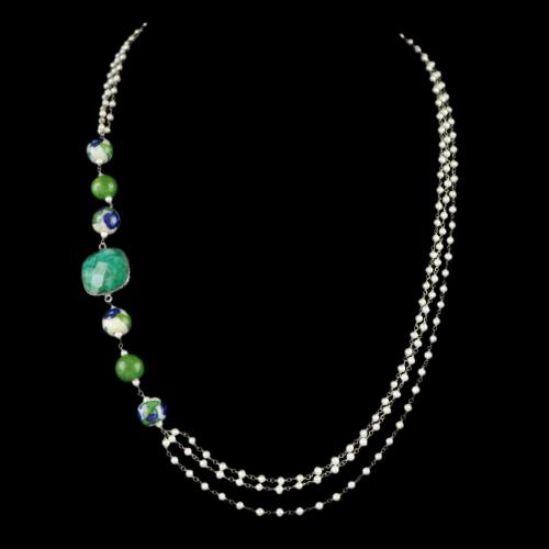 PEARL AATHI BUNCH NECKLACE WITH HATHIPARA STONE AND BLUE POTTERY BEADS