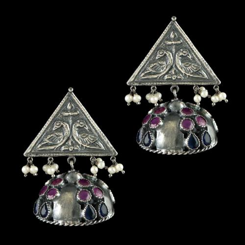 OXIDIZED SILVER JHUMKA WITH PERALS RED AND BLUE ONYX STONES