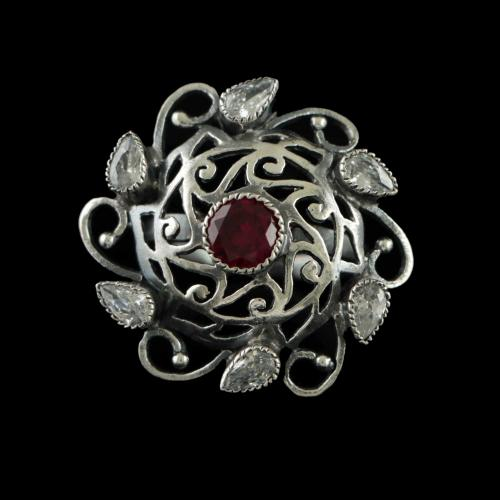 OXIDIZED SILVER PEAL AND RED ONYX RINGS