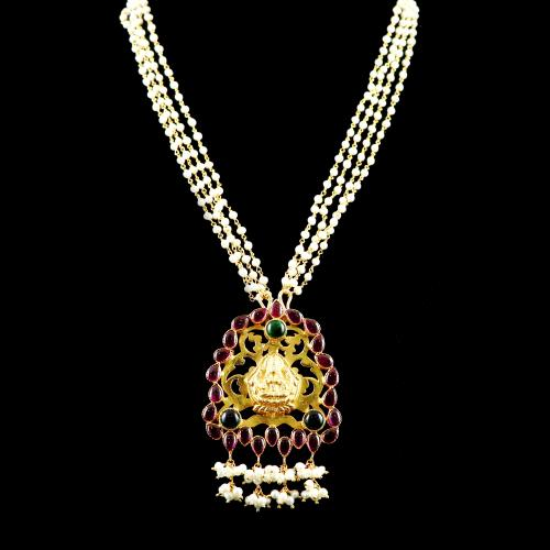 GOLD PLATED RED AND GREEN CORUNDUM LAKSHMI NECKLACE WITH PEARL BEADS