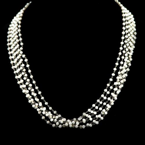 OXIDIZED SILVER PEARL BEADS NECKLACE