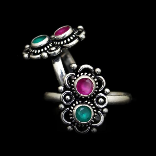 OXIDIZED SILVER RED AND GREEN CORUNDUM TOE RINGS