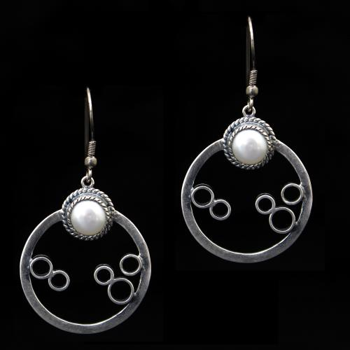 OXIDIZED SILVER PEARL BEADS HANGING EARRINGS