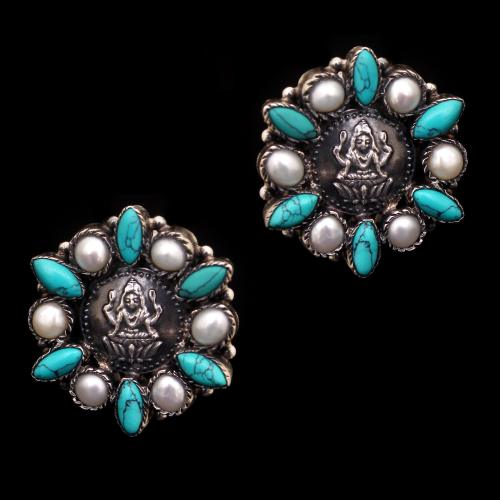 OXIDIZED SILVER PEARL AND TURQUOISE EARRINGS