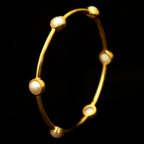 GOLD PLATED PEARL BEADS CASUAL BANGLES