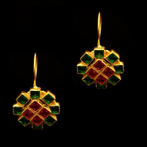 GOLD PLATED RED AND GREEN CORUNDUM EARRINGS