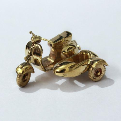 SCOOTER WITH SIDE CAR BRASS MINIATURE TOY
