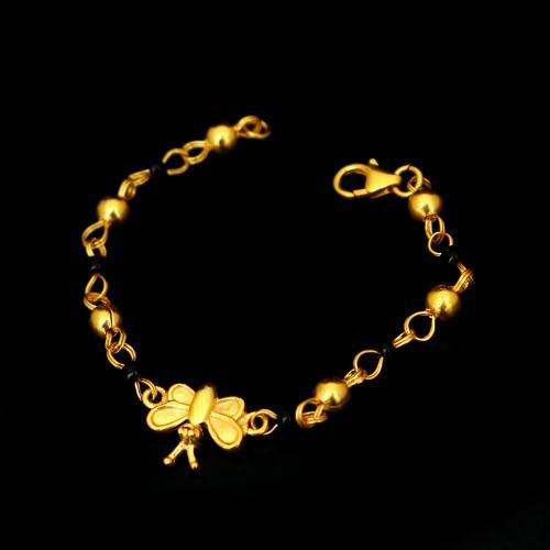 GOLD PLATED BLACK BEAD BABY BRACELET