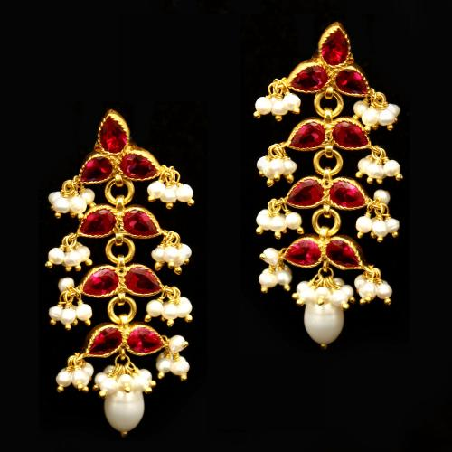 GOLD PLATED CZ AND PEARL BEADS EARRINGS