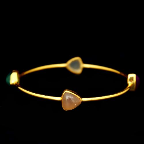GOLD PLATED ONYX BANGLES