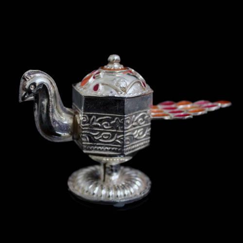 Silver Enamal Peacock Kumkum Box