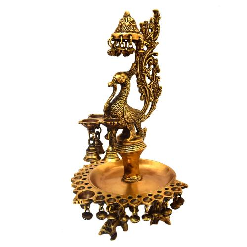 BRASS ANNAPAKSHI DEEPA WITH BELL