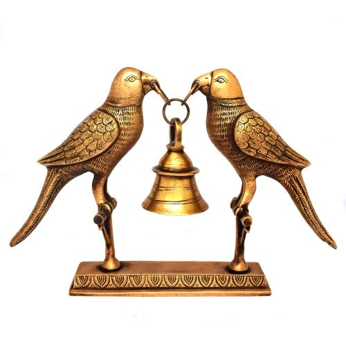 BRASS PARROT STAND WITH BELL