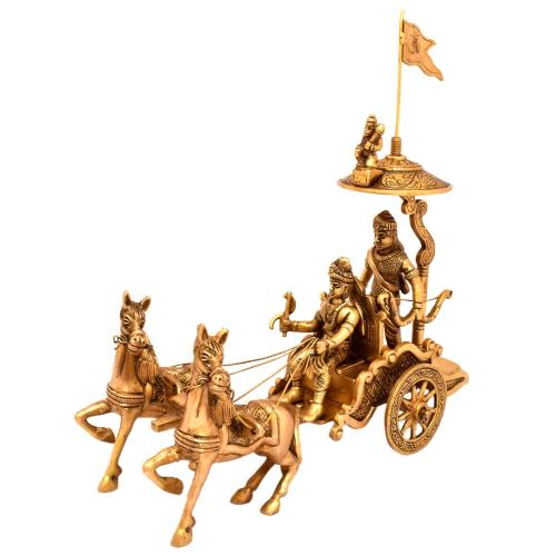 BRASS ARJUN RATH WITH TWO HORSE