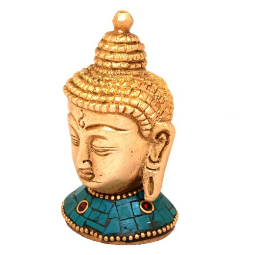 BRASS BUDDHA HEAD WITH STONE WORK