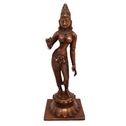 BRASS PARVATHI STANDING ON LOTUS BASE ANTIQUE