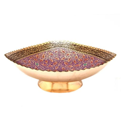 WHITE METAL BOWL WITH FLOWER DESIGN