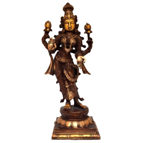 BRASS STANDING 4 HAND LAKSHMI WITH BASE