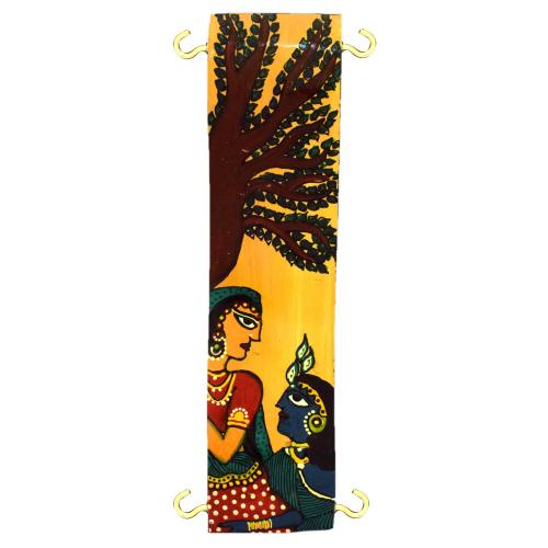 WALL HANGING KEY HOLDER WITH RADHA KRISHNA PAINTED