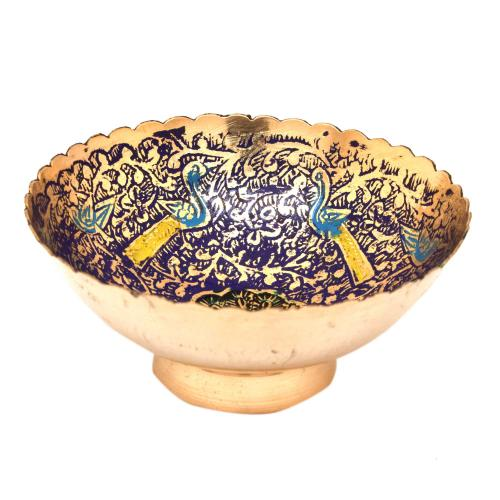 BRASS FRUIT BOWL WITH FLOWER DESIGN PAINTED