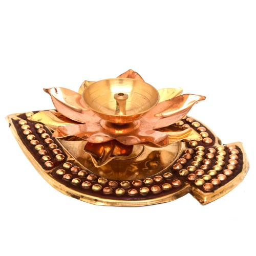 BRASS/COPPER LOTUS DIYA WITH STAND