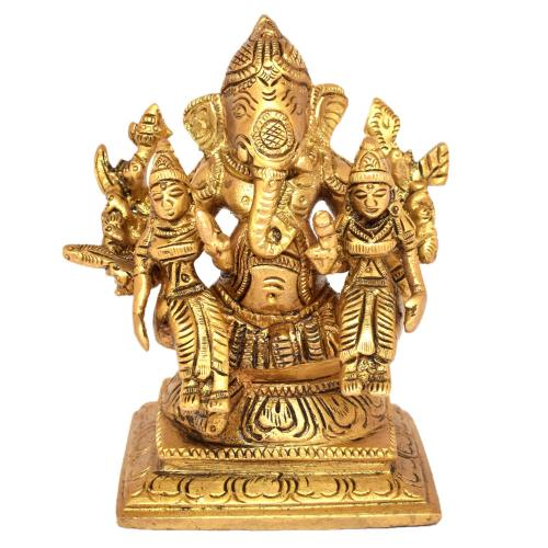 BRASS GANESHA SITTING WITH RIDHI SIDHI