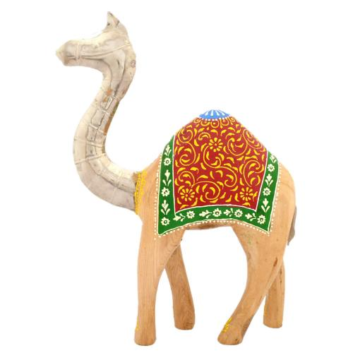 WOODEN PAINTED METAL FITTED CAMEL