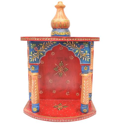 WOODEN PAINTED WALL HANGING MANDIR