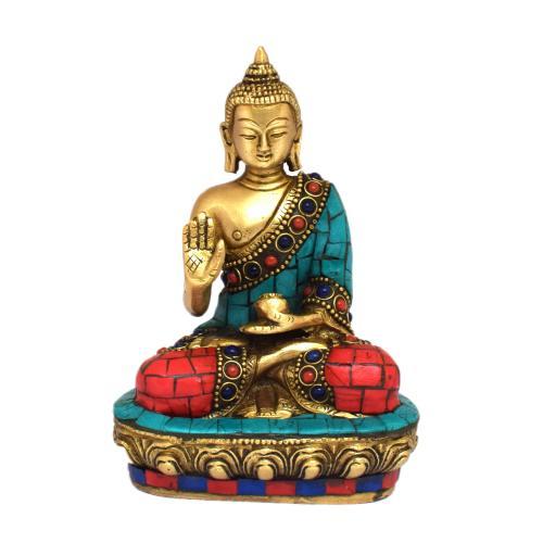 BRASS BLESSING BUDDHA SITTING STONE WORK