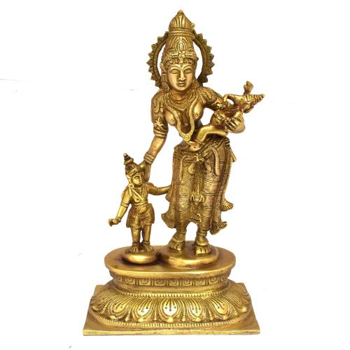BRASS PARVATHI STANDING WITH KARTHIK AND GANESHA