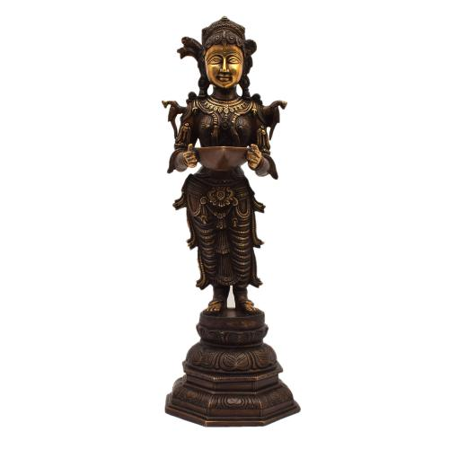 BRASS DEEP LAKSHMI STANDING WITH BASE
