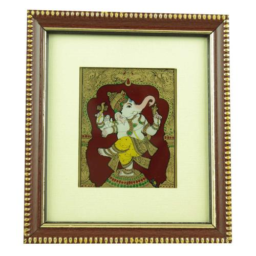 DANCING GANESHA GLASS PAINTING
