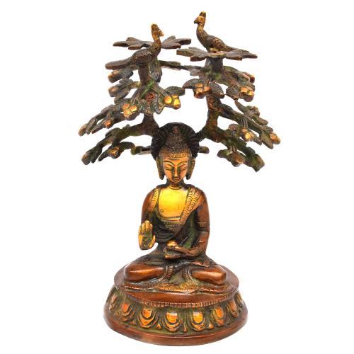 BRASS BUDDHA SITTING UNDER TREE