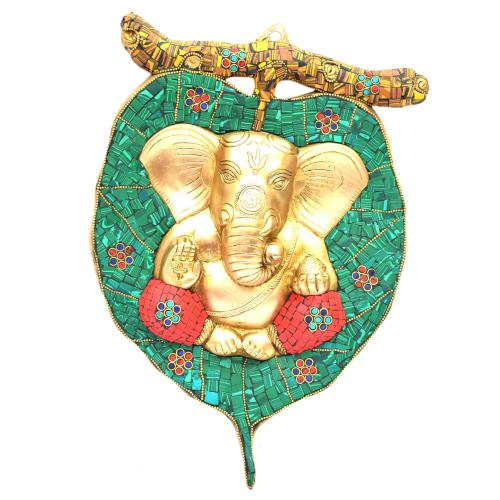 BRASS WALL HANGING GANESHA PEEPAL LEAF