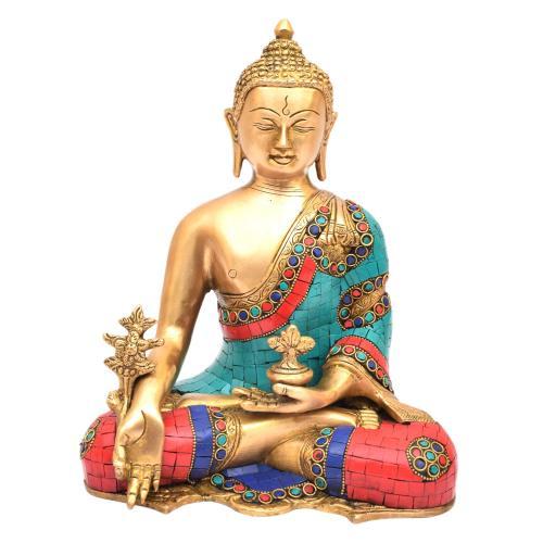 BRASS MEDITATION BUDDHA STONE WORK
