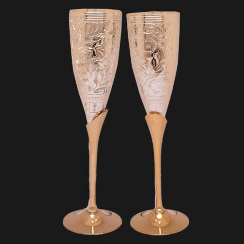 SILVER PLATED GLASS SET OF 2 PCS WITH ENGRAVED WORK