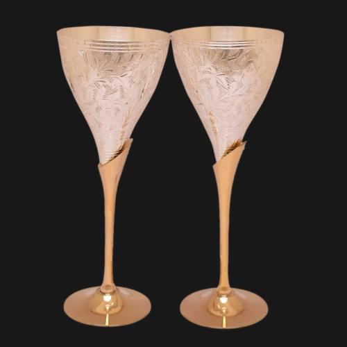 22 CT GOLD PLATED DUAL TONE GLASS SET OF 2 PCS WITH ENGRAVE WORK
