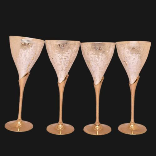 22 CT GOLD PLATED DUAL TONE GLASS SET OF 4 PCS WITH ENGRAVE WORK