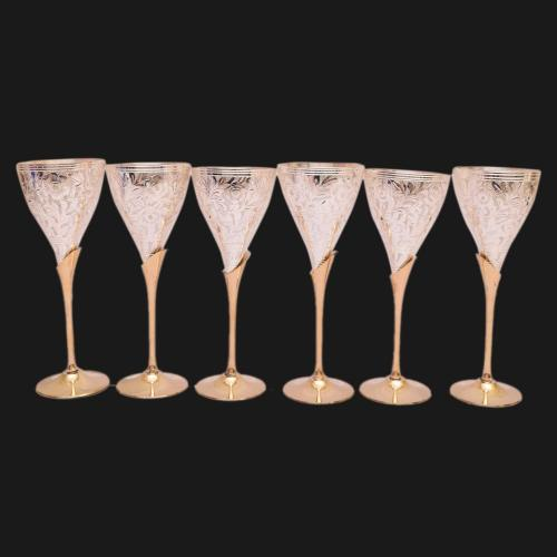 22 CT GOLD PLATED DUAL TONE GLASS SET OF 6 WITH ENGRAVE WORK