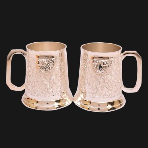 SILVER PLATED BEER MUG SET OF 2 WITH ENGRAVE WORK