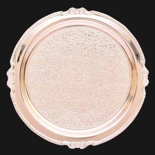 SILVE PLATED PLATE ROUND ENGRAVED WORK