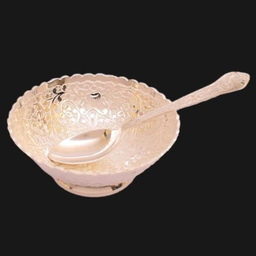SILVER PLATED BOWL WITH SPOON ENGRAVED