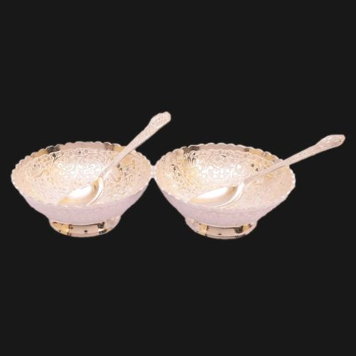 SILVER PLATED BOWL WITH SPOON SET OF 4 ENGRAVED