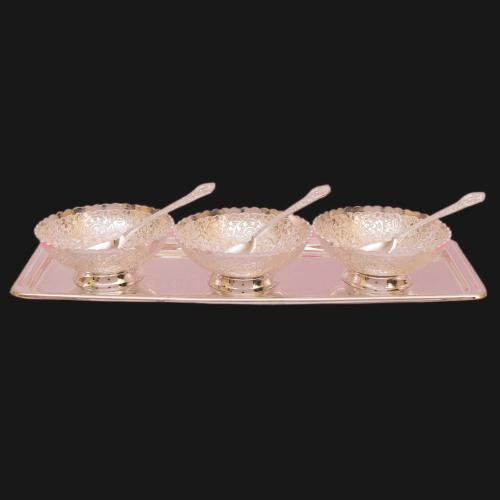 SILVER PLATED KHEER BOWL SET OF 7 WITH ENGRAVED WORK(3 BOWL 3 SPOON 1 PLATE)