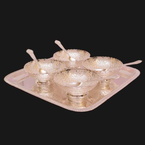 SILVER PLATED KHEER BOWL SET OF 9 WITH ENGRAVED WORK(4 BOWL 4 SPOON 1 PLATE)